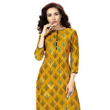 Lovely Mustard Colored Rayon Straight Kurti