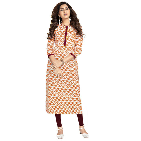 Cream Colored Casual Wear Rayon Straight Kurti