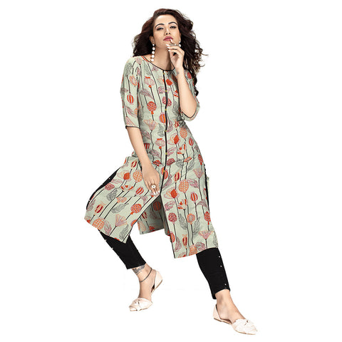 Exceptional Green Colored Rayon Printed Kurti