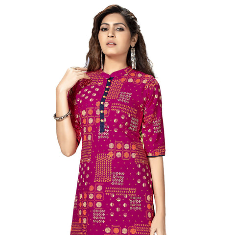 Blooming Pink Colored Rayon Straight Kurti