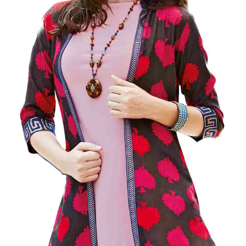 Charming Pink Coloured  Party wear Printed Rayon Long Kurti