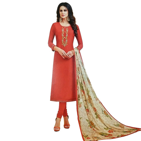 Opulent Orange Coloured Chanderi Silk Dress Material