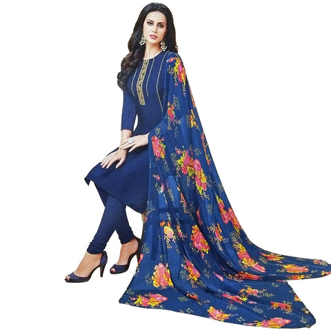 Beautiful Blue Coloured Chanderi Silk Dress Material