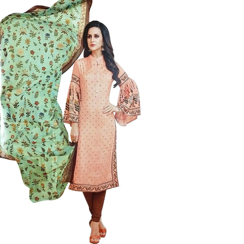 Gorgeous Peach Coloured Chanderi Silk Dress Material