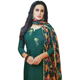 Hypnotic Green Coloured Chanderi Silk Dress Material
