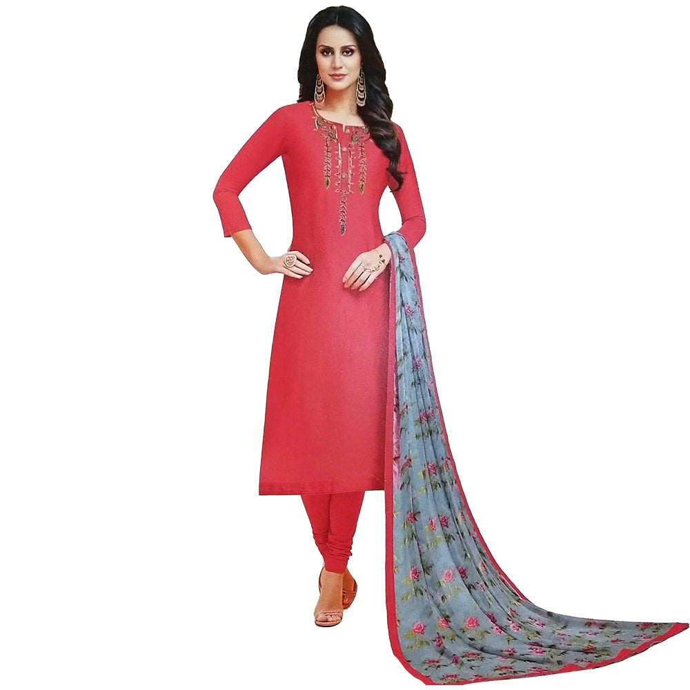 Ravishing Red Coloured  Chanderi Silk Dress Material