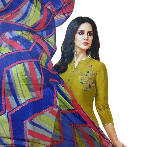 Majestic Mustard Coloured Chanderi Silk Dress Material