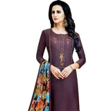 Beautiful Brown Coloured Chanderi Silk Dress Material