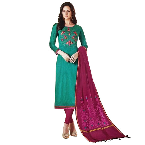 Lovely Green Coloured Tussar Silk Salwar Kameez