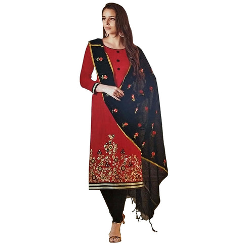 Marvellous Red Coloured Tussar Silk Salwar Kameez