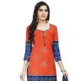 Lovely Orange Cotton Salwar With Cotton Dupatta And Bottom