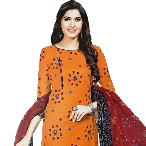 Refreshing Orange Cotton Salwar With Cotton Dupatta And Bottom