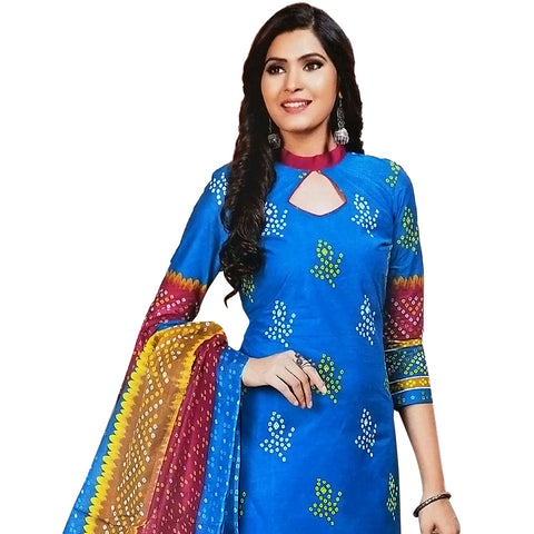 Attractive Blue Cotton Salwar With Cotton Dupatta And Bottom