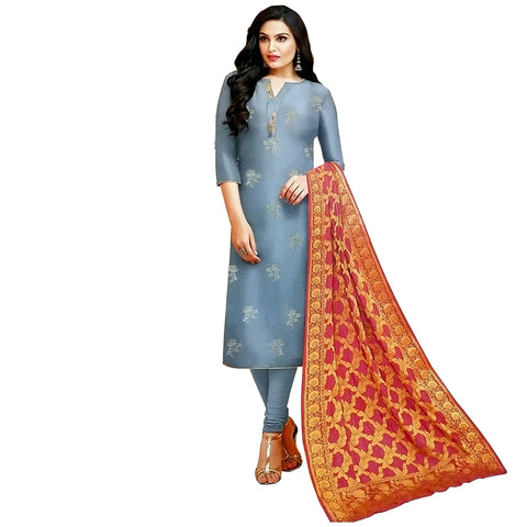 Elegant Grey Coloured Silk Blend Dress Material With Banarasi Silk Dupatta