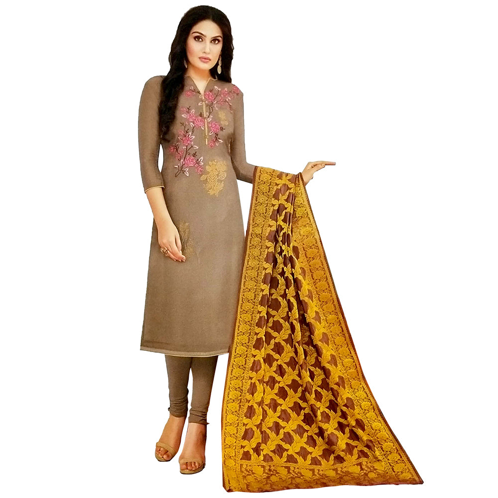 Mesmerising Cream Dress Material With Banarasi Silk Dupatta