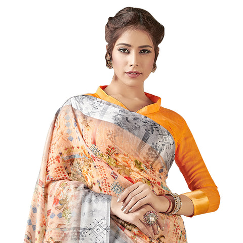Innovative Woven Linen Cotton Saree In Peach