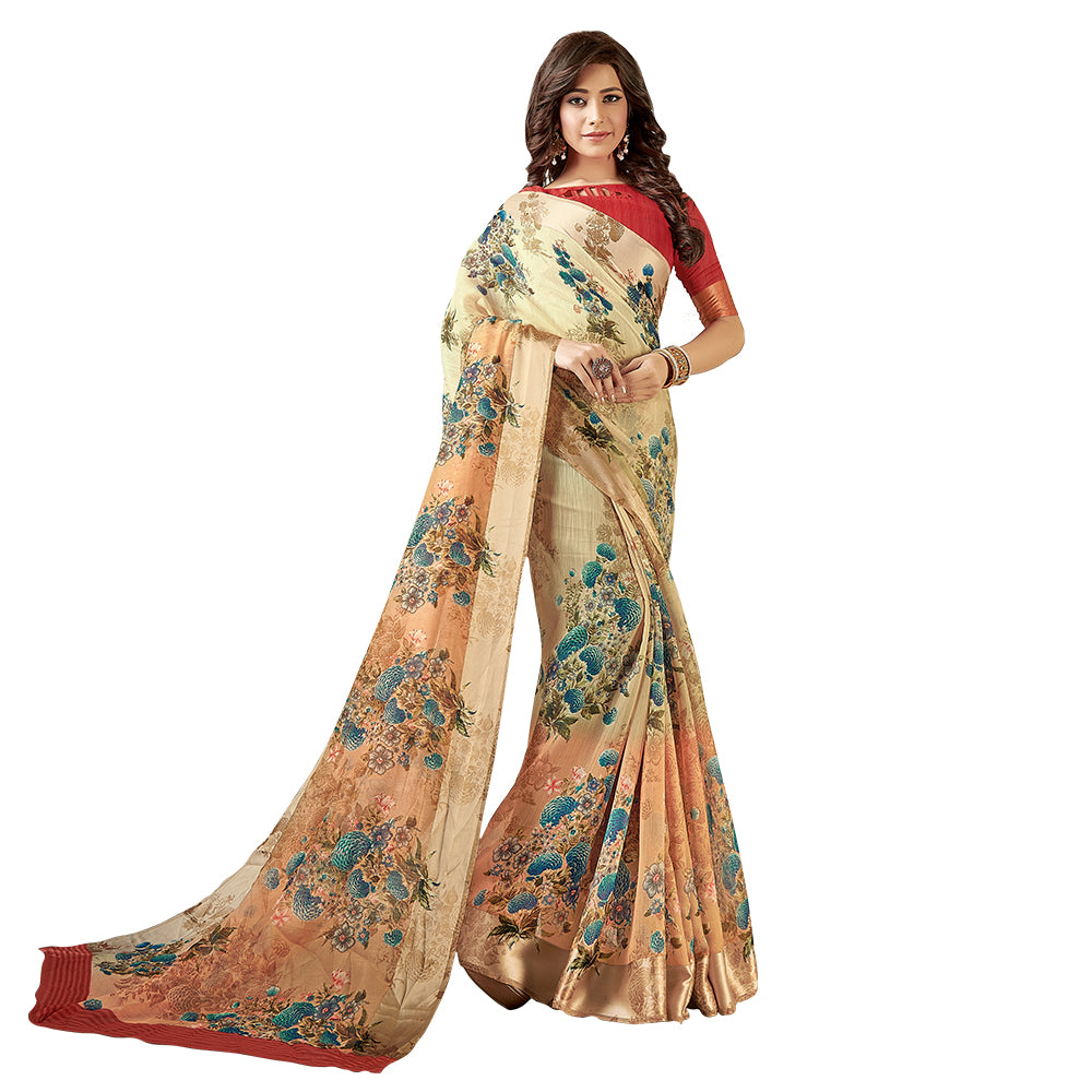 Opulent Woven Linen Cotton Saree In Beige