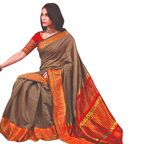 Astonishing Cotton Silk Saree In Rustic Grey