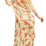 Exceptional Cream Coloured Georgette Saree