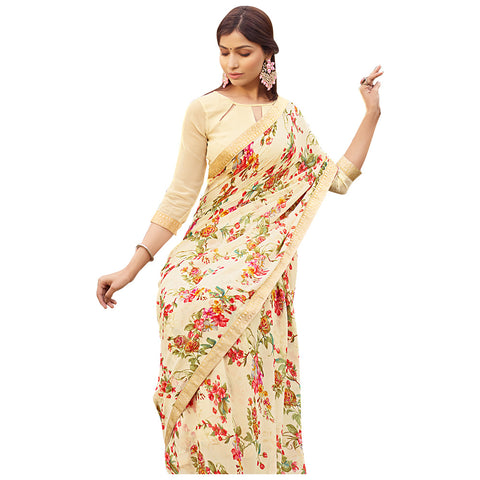 Exceptional Cream Coloured Chiffon Saree