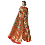 Classy Art Silk Brocade Jacquard Banarsi Silk Paithani Saree In Golden