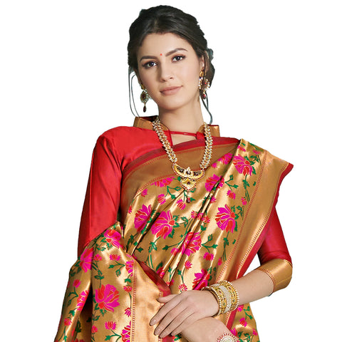 Attractive Art Silk Brocade Jacquard Banarsi Silk Paithani Saree In Golden