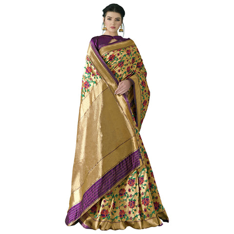 Dazzling Art Silk Brocade Jacquard Banarsi Silk Paithani Saree In Golden