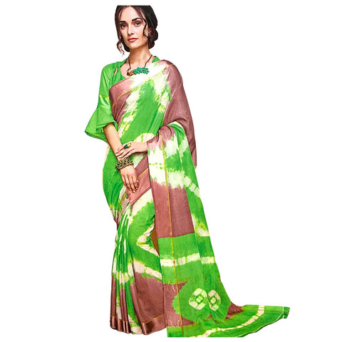 Sensational Green Bandhani Kota Doria Silk Saree