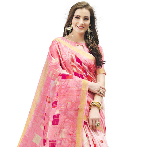 Charismatic Pink Coloured Linen Cotton Saree
