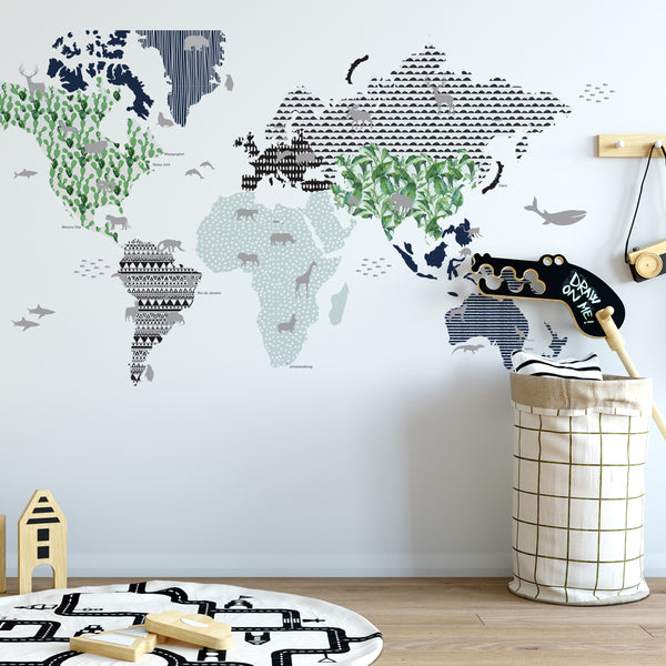 World Map Wall Sticker - Navy