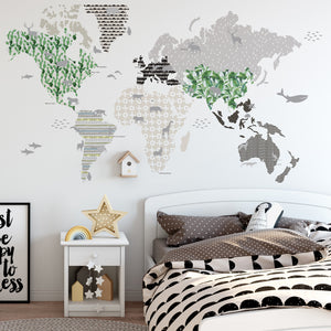 World Map Wall Sticker - Brown