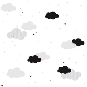 Clouds ans pink stars wallpaper