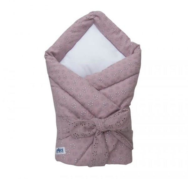 Baby swaddle wrap - embroidered dusk pink