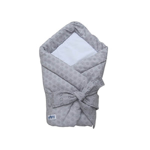 Baby swaddle wrap - embroidered grey