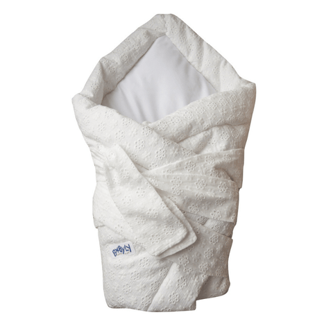 Baby swaddle wrap - embroidered ecru