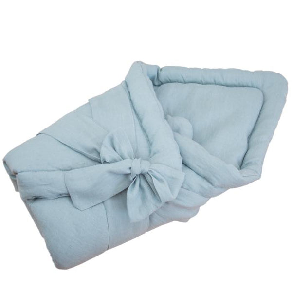 Baby swaddle wrap - linen aqua blue