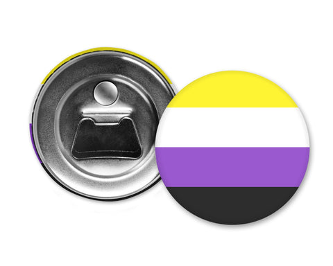 NONBINARY FLAG - Magnet with Bottle Opener