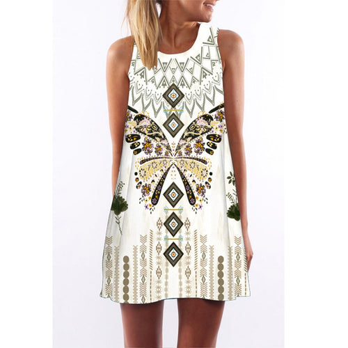 Summer Sleeveless Floral Printed Casual Mini Dress
