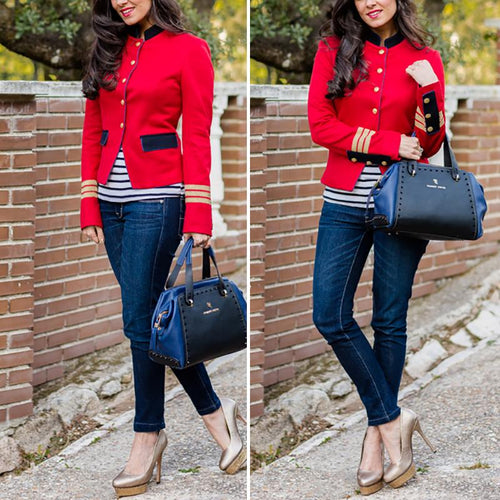 Fashion Contrast Color   Long Sleeve Coat