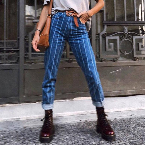 Fashion Stripe Denim Pants