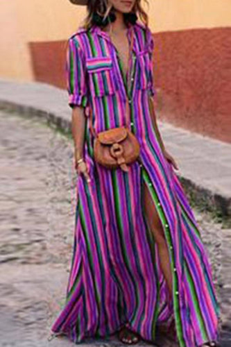 Fashion Stripes Half Sleeve Vacation Maxi Dresses