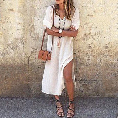 V-Neck  Solid Color High Split Maxi Dress