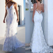 Load image into Gallery viewer, Sexy V Neck White Wedding Fishtail Evening Dress