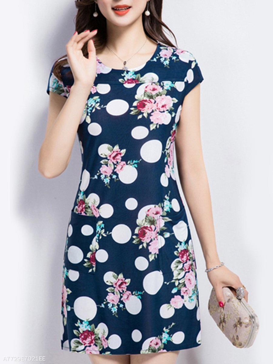 Round Neck  Print Bodycon Dress