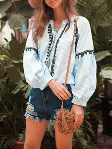 Vintage Ethnic Style Tassel Stripes Long Sleeves Bandwidth Loose Blouses