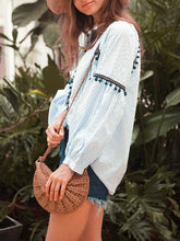 Load image into Gallery viewer, Vintage Ethnic Style Tassel Stripes Long Sleeves Bandwidth Loose Blouses