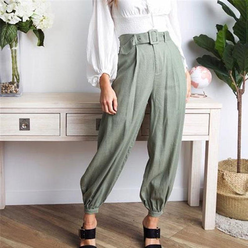 Casual Chic Soft Loose Plain Buckle Waistband Harem Pants