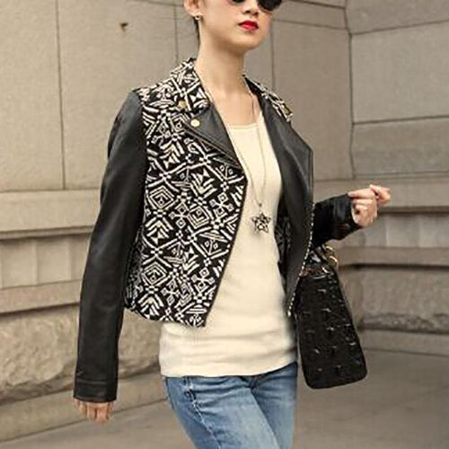 Fashion PU Leather Short Jacket