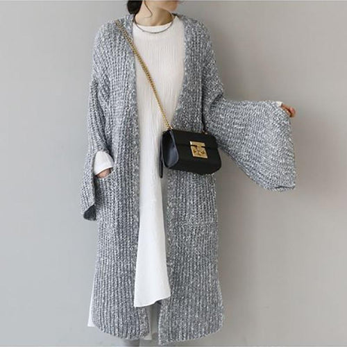 Casual Slit Loose Variegated Long Sleeve Cardigan