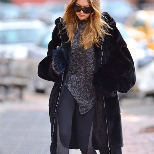 Fashion Plain Faux Fur Thicken Keep Warm Long Coat